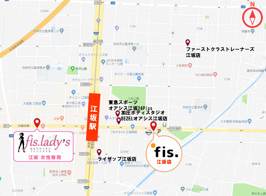 江坂周辺のパーソナルトレーニングジムの地図