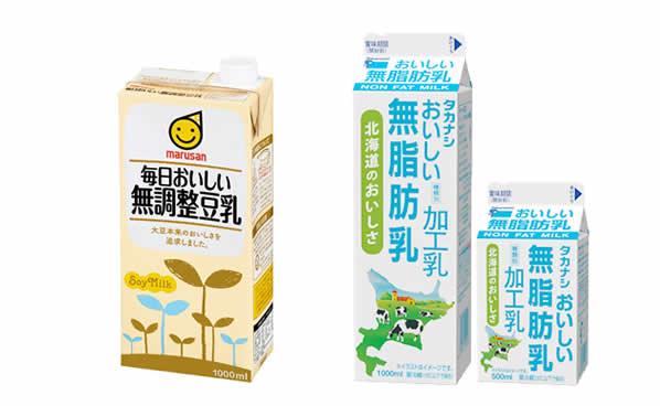 無調整豆乳・無脂肪牛乳