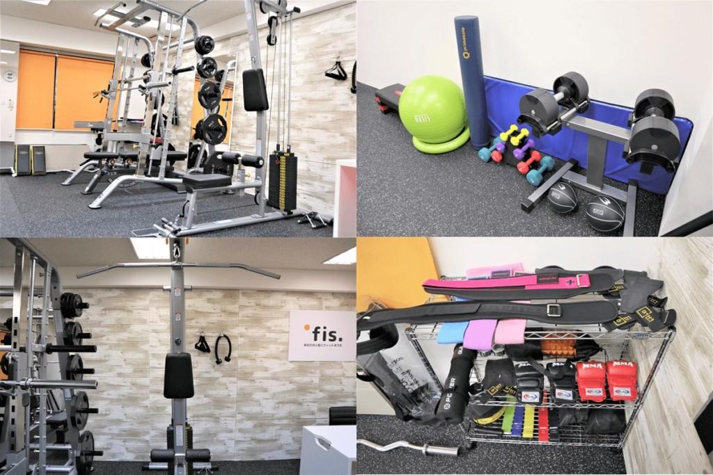 パーソナルトレーニングジムfis梅田中崎町店のトレーニング設備